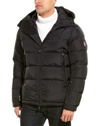Moncler Logo Print Quilted Down Coat - Black