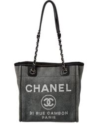 Chanel Blue Canvas Mini Deauville Tote - Gray