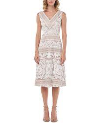 Kay Unger Priscilla Chemical Lace Midi Dress - White