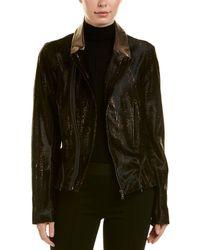 Elie Tahari Leather Jacket - Brown