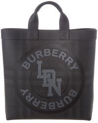 Burberry Logo Graphic London Check Tote - Gray