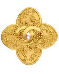 Chanel - Gold-tone Cc Grapevine Cross Pin - Lyst