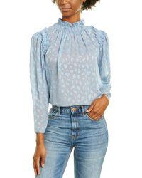 Rebecca Taylor Leo Clip Silk-blend Top - Blue