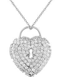 Gabi Rielle Silver Cz Keyhole Heart Necklace - Metallic