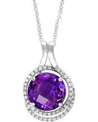 Effy - Fine Jewellery 14k 4.48 Ct. Tw. Diamond & Amethyst Necklace - Lyst
