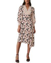 Reiss Emmi Print Mix Side Split Dress - Multicolour