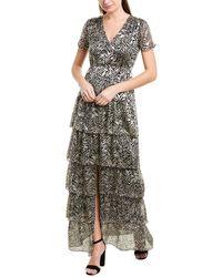 Ba&sh Zelie Tiered Zebra Print Maxi Dress - Black