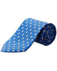 Ferragamo - Blue Football Bears Silk Tie - Lyst