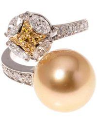 Mikimoto 18k 1.85 Ct. Tw. Diamond & 16mm South Sea Pearl Statement Ring - Metallic