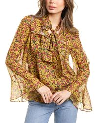 Divine Héritage Printed Ruffle Blouse - Yellow