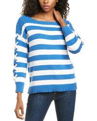 Cece By Cynthia Steffe Striped Boatneck Sweater - Blue