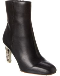 Reiss Sophia Leather Bootie - Black