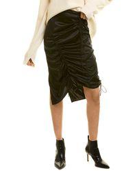 Helmut Lang Ruched Silk-blend Skirt - Black