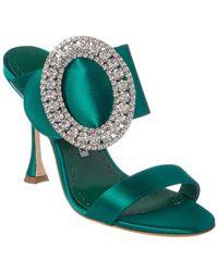 Manolo Blahnik Fibiona 105 Crystal Embellished Satin Mule - Green