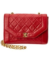 Chanel Red Quilted Lambskin Leather Small Flap Bag