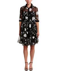 Gracia Embroidered Floral Mesh Dress - Black