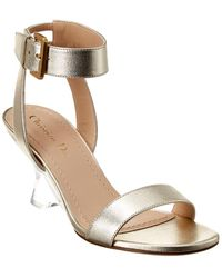 Dior Sphere Metallic Leather Sandal - Gray