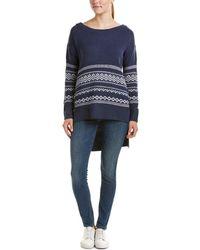Splendid High-low Wool-blend Pullover - Blue