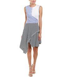 Catherine Malandrino Sleeveless Multi-stripe Twist-front Dress - Blue
