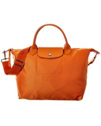 Longchamp Le Pliage Medium Nylon Short Handle Tote - Orange
