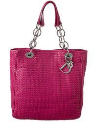 Dior Dior Limited Edition Pink Woven Medium Lady Dior