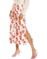 Rebecca Taylor Scarlet Linen Midi Skirt - Red