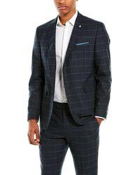 Original Penguin 2pc Slim Fit Wool-blend Suit With Flat Pant - Blue