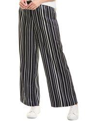 Vince Camuto Plain View Stripe Wide Leg Pant - Black