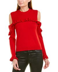 The Kooples Cold-shoulder Wool Sweater - Red