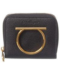 Ferragamo Gancini Small Leather Zip Around Wallet - Black