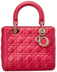 Dior - Pink Lambskin Leather Small Lady Dior - Lyst