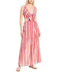 Letarte Striped Cutout Maxi Dress - Red