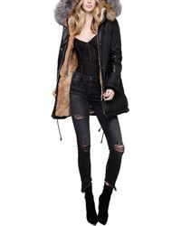 Nicole Benisti Chelsea Intarsia Medium Down Jacket - Black