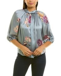 Rebecca Taylor Fleur Silk Top - Blue