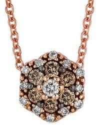 Le Vian 14k Rose Gold 0.17 Ct. Tw. White & Chocolate Diamond Necklace - Multicolour