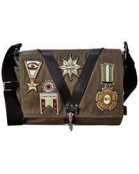 Valentino Canvas & Leather Messenger Bag - Green