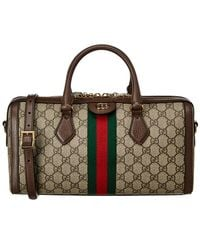 Gucci Ophidia Medium GG Supreme Canvas & Leather Top Handle Bag - Brown