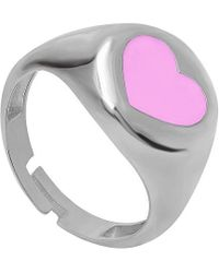 Gabi Rielle Silver Enamel Ring - Metallic