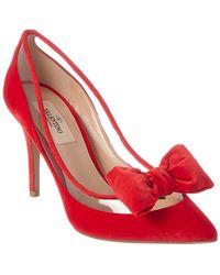 Valentino Dollybow Velvet Pump - Red