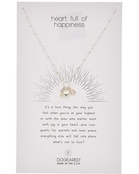 Dogeared - Heart Full Of Happiness Silver Crystal Quartz Necklace - Lyst