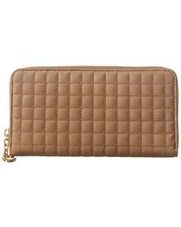 Céline Large C Charm Quilted Leather Zip Around Wallet - Brown