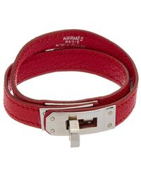 Hermès - Pink Leather Kelly Double Tour Bracelet - Lyst