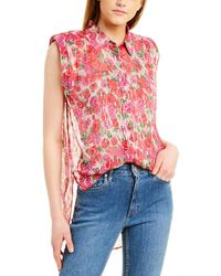 The Kooples Cherry Blossom Silk-blend Top - Pink