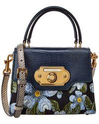 Dolce & Gabbana Welcome Medium Floral Print Fabric & Leather Satchel - Blue