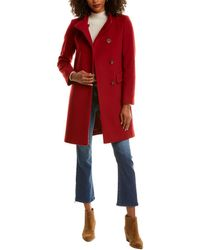 Cinzia Rocca Asymmetrical Wool & Cashmere-blend Coat - Red