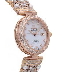 Omega De Ville Ladymatic 18kt Rose Gold Diamond Watch - Metallic