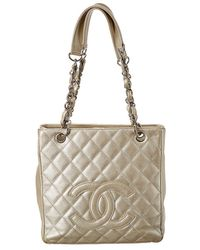 Chanel Gold Quilted Caviar Leather Petit Shopping Tote - Metallic