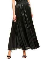 BCBGMAXAZRIA Dallin Sunburst Pleated Chiffon Maxi Skirt - Black