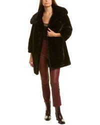 Adrienne Landau Funnel Neck Coat - Black
