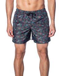 Jared Lang Men's Multicolour Swirl-print Swim Shorts - Blue
